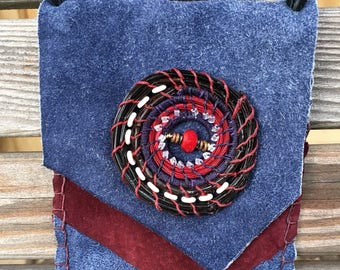 Red and Blue Hipster Leather Cellphone or Eyeglass Bag