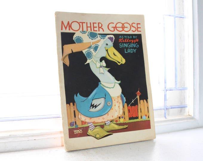 Vintage Mother Goose Children's Book 1933 Advertising Kellogg's Cereal