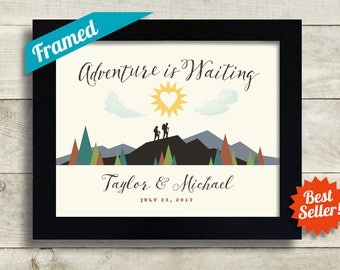 Outdoor Enthusiast Wedding Gift, Hiking Gift For Newlyweds, Adventure Awaits, Nature Lovers Camping Couples Gift Mountain Art