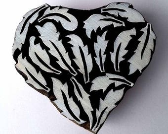 Indian Wood Stamp - Feather Heart - Wood Block Printing - Hand Carved