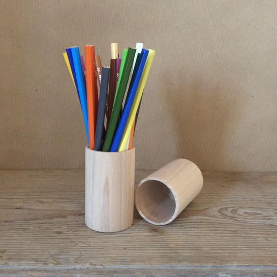Wooden Pencil Holder, set of 3, Desk Organizer, Wooden ...