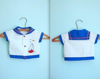 vintage baby boy sailor shirt / 3-6 months / blue and white / appliqué sailboat / anthropomorphic sailing
