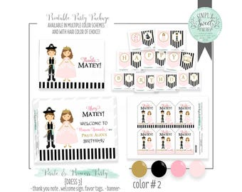 Pirates & Princess Birthday Party Package- Printable PDF files in Pink and Gold. Invite favor tags cupcake toppers banner decor and more