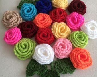 ON SALE - 10% OFF Set of 5 crochet roses