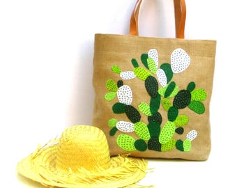 Cactus hand embroidered  jute tote bag, bohemian inspired, handmade tote, hand applique with cactus,, summer beach tote bag