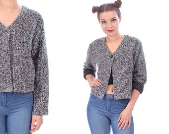 Crop Cardigan Sweater 90s Miniman Cardigan Speckled Ribbed Retro Top Button Up Nubby Grey White Pure Hipster Normcore Gift . Medium