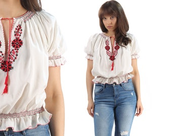 Embroidered MEXICAN Top 60s Hippie Shirt Hand Embroidery Ethnic Cream White Red Cotton Top Boho 1960s Festival Medium