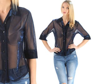 Sheer Mesh Shirt 90s Shimmer Metallic Vintage Royal Blue  Shirt Blouse Oil Slick Fitted Shirt Top Medium