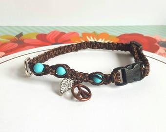 Boho Cat Collar, Turquoise Beaded Collar, Hippie Collar, Square Knot Hemp Collar, Tiny Dog, Puppy, Kitten, Adjustable, Hemp Collar