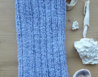 L Periwinkle PICC Line / IV Cover (Armband), blue, purple, machine wash, intravenous, chemo, tpn, hand knit, cotton, elastic, soft, neutral