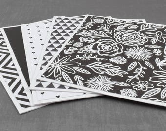 Black and White Cards, Simple Card, Wedding Card, Pack of Greeting Cards, Assorted Cards, Set of Cards, Blank Greeting Cards, Stationery