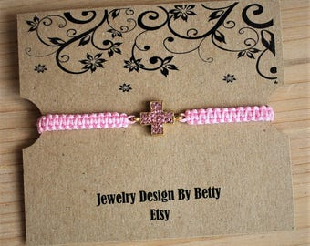 Cross Bracelet Faith Bracelet Inspirational Pink Macrame Bracelet Friendship Bracelets Religious Bracelets Bridesmaid Jewelry Accessories