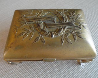 Jewelry Box Vintage K & Co. Cast Metal Trinket Box with hinged lid ring box