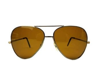50% OFF Vintage Aviator Sunglasses // 1970s Brown Amber Lenses, Silvertone Metal Frame // Outdoor Sports Motorcycle Eyewear