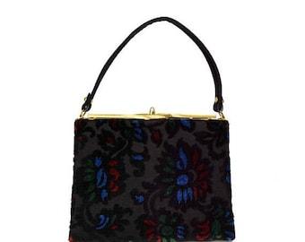 50% OFF Vintage Kadin Black Velvet Tapestry Handbag // 1960s Mid-Century Designer Multi-Color Velveteen Purse with Blue, Red, Green Floral D