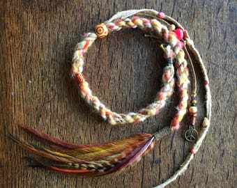 Feather Hair Extensions//Dreadlock Extensions//Clip in Dreads//Feather Hair Clip//Festival Hair Wrap Extensions//Boho Hair Accessories