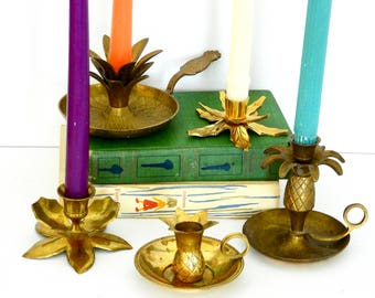 Brass Pineapple and Leaf Candle Holder Collection- Instant Collection
