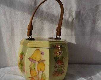 STARTSUMMERSALE Kitschy Octagonal Wood Box Purse/Vintage 1960s/Pixie Leprechaun Design/Retro Decoupage Top Handle Handbag/St. Patrick's Day