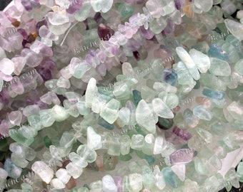 "FIVE (5) 35"" Strands Sale Beads, Destash Beads, Tumbled Semi Precious Stone Bead Chips, Light Rainbow Fluorite, Destash Supplies  DS-897"