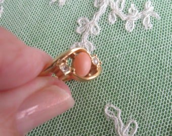 Vintage (1951) Sarah (Sarah Coventry) Ring, Pink Stone, Gold-Tone, Size 4-3/4, Signed