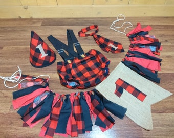 Buffalo Plaid Check Lumber Jack Baby Boy Birthday Smash Cake Outfit. Diaper Cover With Overall Suspenders Tie Or Bow Tie Custom Diaper Shirt
