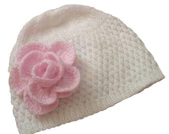 Knit Toddler Hat Beanie, White and Pink Hat, Baby Girl Hat with pink rose, Toodler Girl White Beanie Hat, Toddler Girl Pink Flower Beanie