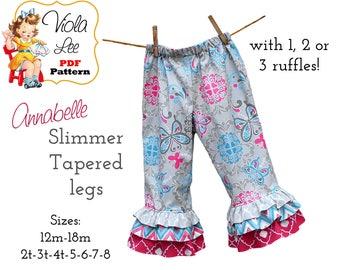 Toddler Ruffle Pants Pattern pdf, Girls ruffle Pants Pattern. Toddler Capri Pattern. Girls pdf Sewing Pattern. Slimmer legs. Annabelle