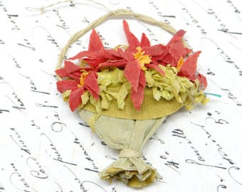 Antique French Basket of Poinsettias Christmas Ornament, Vintage Crepe Paper