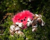 Mediumish  Jumping Spider, Soft Sculpture, Fiber Art, Art Toy, Plush, spider plush, Halloween