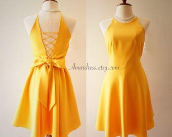 Mustard Dress Backless Dress Mustard Yellow Summer Dress Bridesmaid Dress Cross Rope Dress Vintage Sundress Dancing Dress Prom Queen Style