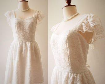 OLIVIA - Short Bridal Dress or Floor Length Formal White Lace Dress Ruffle Sleeve Sweetheart Dress Vintage Marie Antoinette Style Dress