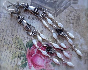 Mother of Pearl Chandelier,MOP Shoulder Dusters,White Chandeliers,White Pearl and Rose,Victorian Hands,B'Sue by 1928 Old Silver,Gift Wrapped