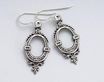 Antiqued Silver Earrings, Silver Victorian Earrings, Antiqued Brass Nickel Free Earrings, Victorian Jewelry, Drop Earring Dangle, Torey