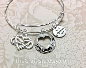 MAM2, Mamaw Bangle, Mamaw  Bracelet, Mamaw Charm, Mamaw Gift, Mamaw Jewelry, Gifts for Mamaw, Best Mamaw Ever, Bangle, Adjustable Bangle