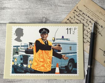 British police vintage postcard with Landrover, Royal Mail picture card, british stamp, unused postcard, prints for framing, british history