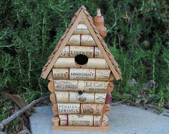 Peak House birdhouse, wine cork art