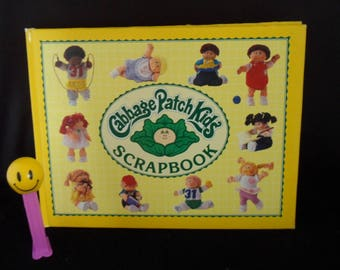 Vintage 1984 Cabbage Patch Kids Scrapbook with pieces of vintage wrapping paper - Unicorn Clowns Strawberry Shortcake - CPK Scrapbook