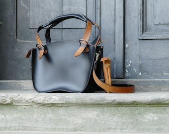 Handmade Leather Handbag with Clutch set Kuferek Smaller