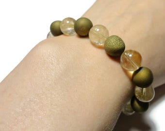 druzy citrine stretch energy bracelet gold yellow fits 6.25 inch wrist