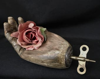 Tenderness art hand assemblage piece wood hand distressed OOAK