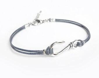 Silver Hook Bracelet, Dark Gray Cord Bracelet,  Hook Jewelry, Waxed Cord Bracelet, Fish Hook Bracelet, Nautical Bracelet