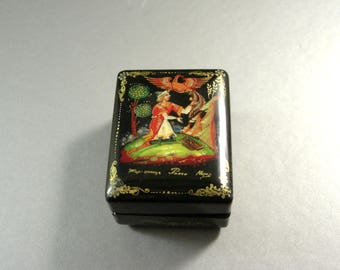 Russian Black Lacquered Hinged Box / Keepsake Trinket Stash Jewelry Ring