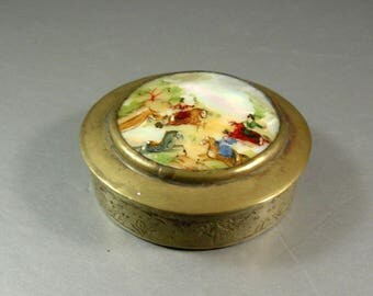 Handpainted Persian Mother of Pearl Metal Box / Hunting Scene / Snuff Patch Trinket