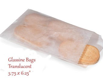 Glassine Bags 100 Flat Treat Glassine Bag - MEDIUM  Glassine Bags Translucent 3.75 x 6.25""