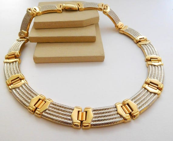 Vintage Silver Gold Tone Mixed Metal Buckle Look Mod Collar Necklace D1