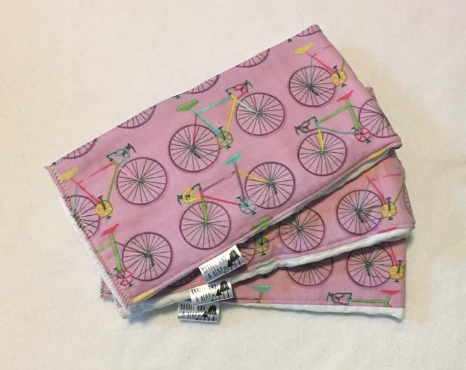 Set of 3 Lavender Bike Burp Cloths