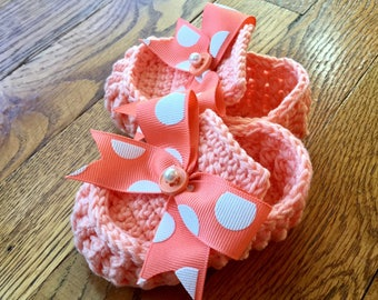 Coral Peach Melon Baby Girl Crochet Booties Shoes Slippers