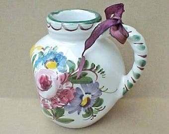 Charming Country Chic European Pottery Creamer or Pitcher
