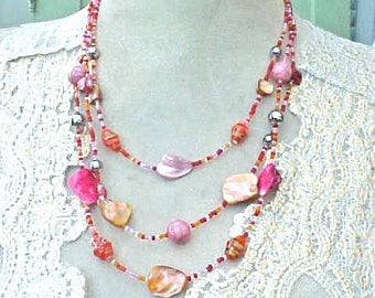 Lovely Necklace of Shell and Glass Beads-Pretty Peachy Pinks
