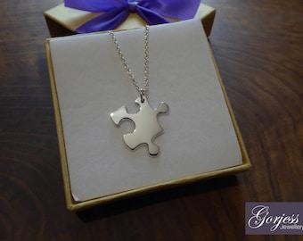 Jigsaw Puzzle Piece Silver Pendant Necklace
